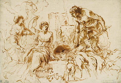 Rachel Drawing - Jacob And Rachel At The Well by Giovanni Benedetto Castiglione