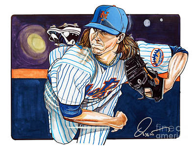 Baseball Art Drawing - Jacob Degrom Of The New York Mets by Dave Olsen