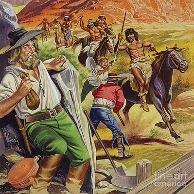 Painting - Jacob Waltz And His Friend Being Attacked By Apache Indians by Ron Embleton