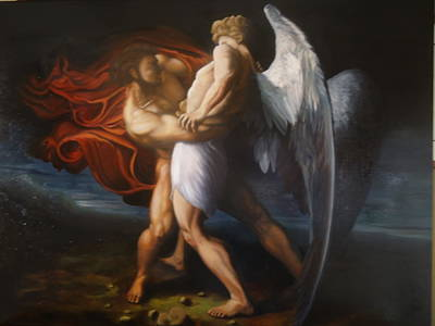 Jacob Wrestling The Angel Art Print by Paul Gilbert Baswell