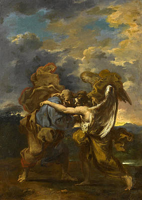 Painting - Jacob Wrestling With The Angel by Alessandro Magnasco