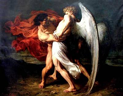 Painting - Jacob Wrestling With The Angel by Alexander Louis Leloir