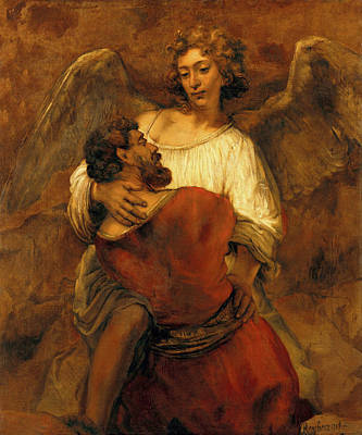 Painting - Jacob Wrestling With The Angel Rembrandt 1659 by Rembrandt