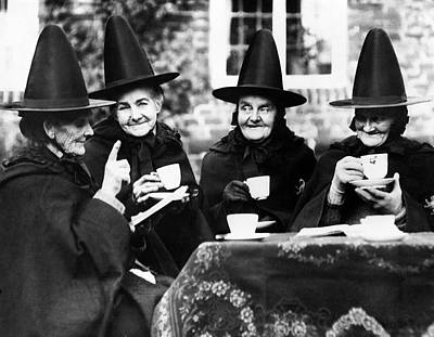 Group Of Women Talking Photograph - Jacobean Tea by Fox Photos