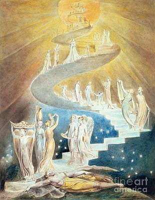 Genesis Painting - Jacobs Ladder by William Blake