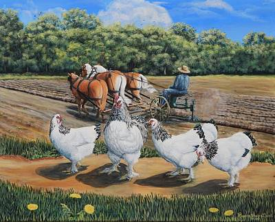 Jacobs Plowing And Light Bramah Chickens Art Print