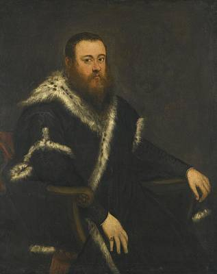 Jacopo Robusti, Called Jacopo Tintoretto , Portrait Of A Bearded Man In A Black Robe With Fur Art Print