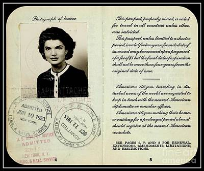 Photograph - Jacqueline Bouvier Kennedy Onassis 1950s Passport by Peter Gumaer Ogden Collection