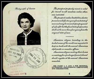 Photograph - Jacqueline Bouvier Kennedy Onassis 1950s Passport by Peter Gumaer Ogden Collection