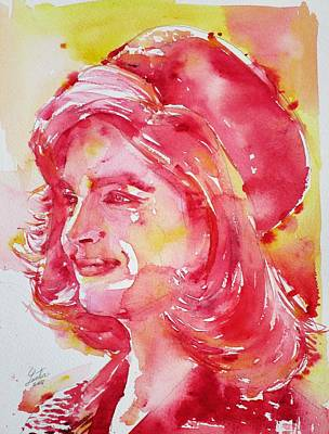 Painting - Jacqueline Kennedy Onassis - Watercolor Portrait.1 by Fabrizio Cassetta