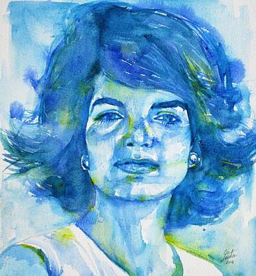 Painting - Jacqueline Kennedy Onassis - Watercolor Portrait.2 by Fabrizio Cassetta