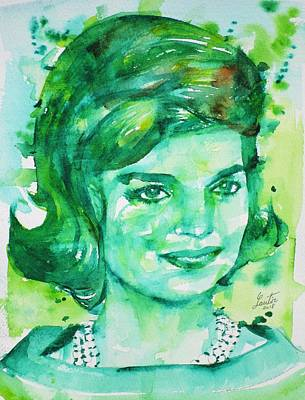 Painting - Jacqueline Kennedy Onassis - Watercolor Portrait.3 by Fabrizio Cassetta