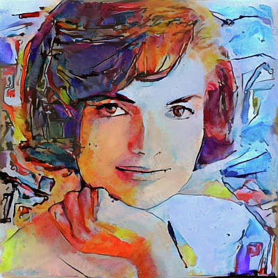 President Kennedy Digital Art - Jacqueline Kennedy Portrait 2 by Yury Malkov