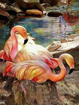 Digital Art - Jacqueline's Flamingos by Jann Paxton