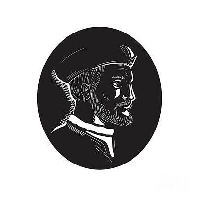 Jacques Cartier French Explorer Oval Woodcut Art Print