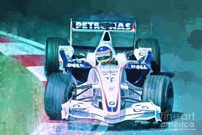 Jacques Villeneuve 2006 Bmw Sauber F1 Art Print by Roger Lighterness