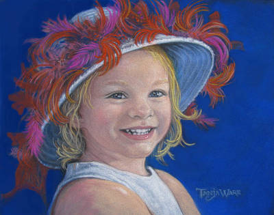 Toddler Portrait Painting - Jada's Hat by Tanja Ware