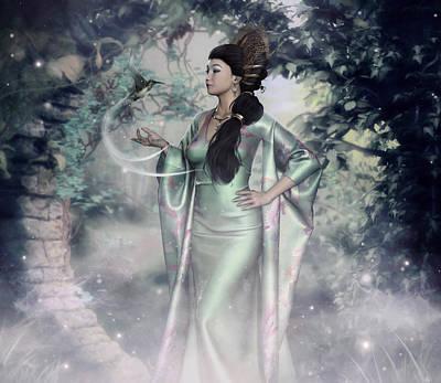 Digital Art - Jade Green Empress by Rachel Dudley