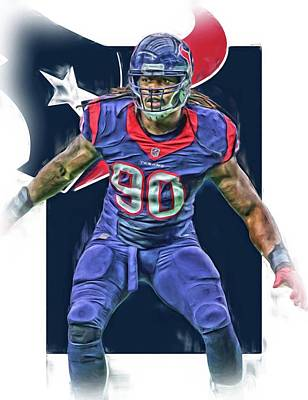 Oil Mixed Media - Jadeveon Clowney Houston Texans Oil Art by Joe Hamilton