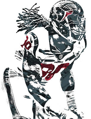 Mixed Media - Jadeveon Clowney Houston Texans Pixel Art by Joe Hamilton