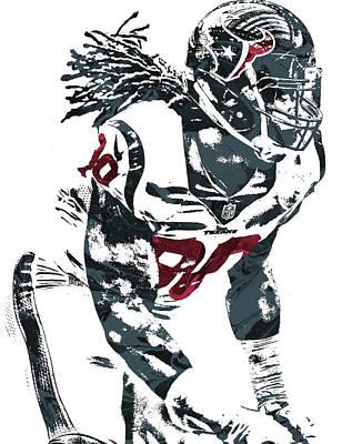 Art Print featuring the mixed media Jadeveon Clowney Houston Texans Pixel Art by Joe Hamilton