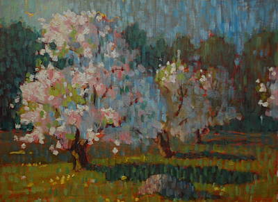 Early Spring Painting - Jaeschke Orchard by Len Stomski