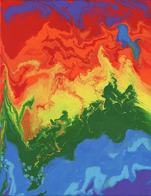 Jagged Rainbow, Abstract Acrylic Painting Original