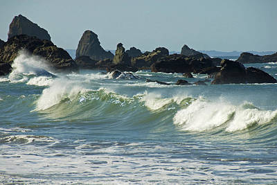 Jagged Rocks And Breaking Waves Print by Stephen Sharnoff