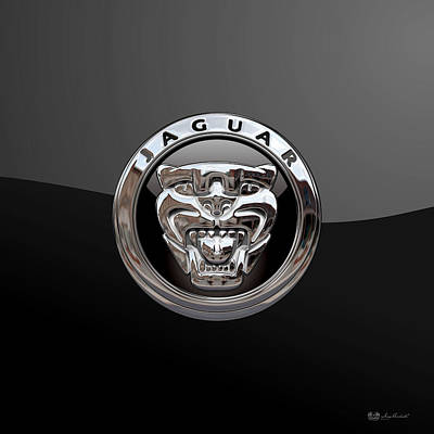 Jaguar - 3d Badge On Black Original by Serge Averbukh