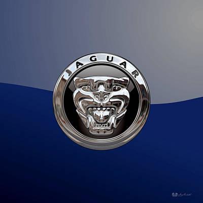 Digital Art - Jaguar - 3d Badge On Blue by Serge Averbukh