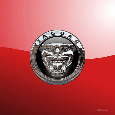 Digital Art - Jaguar - 3d Badge On Red by Serge Averbukh
