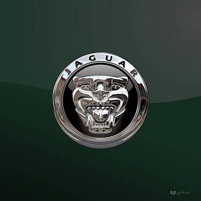 Digital Art - Jaguar 3d Badge Special Edition On Bottle Green by Serge Averbukh