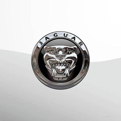 Digital Art - Jaguar 3d Badge Special Edition On White by Serge Averbukh
