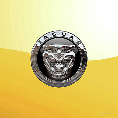 Digital Art - Jaguar 3d Badge Special Edition On Yellow by Serge Averbukh
