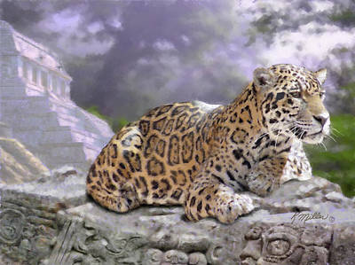 Digital Art - Jaguar And Mayan Temple by Kathie Miller