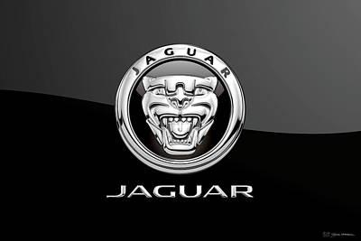 Digital Art - Jaguar Badge - Luxury Edition On Black by Serge Averbukh