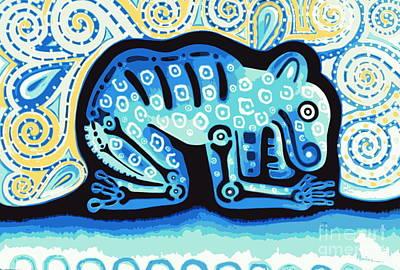 Mexicano Digital Art - Jaguar Blue Posterized by Jose Luis Montes