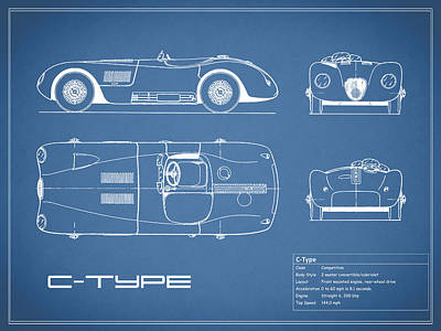 Photograph - Jaguar C-type Blueprint by Mark Rogan