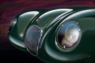Jagged Painting - Jaguar C Type by David Kyte