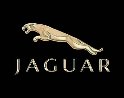 Digital Art - Jaguar Car Emblem Design by Walter Colvin