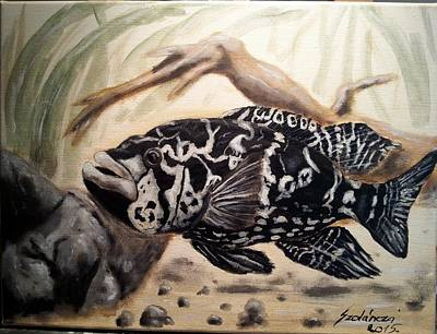 Aquatic Life Painting - Jaguar Cichlid by Judit Szalanczi