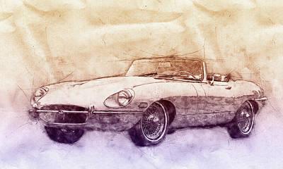 Sports Mixed Media - Jaguar E-Type 2 - Jaguar XK-E - Sports Car - Automotive Art - Car Posters by Studio Grafiikka