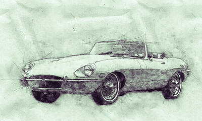 Mixed Media Royalty Free Images - Jaguar E-Type 3 - Jaguar XK-E - Sports Car - Automotive Art - Car Posters Royalty-Free Image by Studio Grafiikka