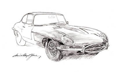 Sport Car Drawing - Jaguar E-type by David Lloyd Glover