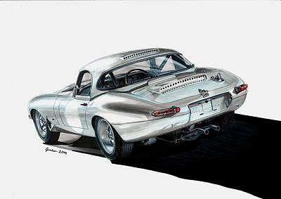 Jaguar E-type Lightweight Art Print by Tomasz Boguslawski