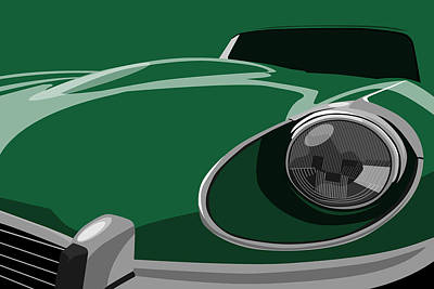 Green Digital Art - Jaguar E-type by Michael Tompsett