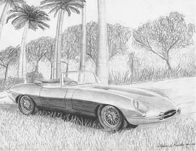 Automotive Art Series Wall Art - Drawing - Jaguar E-type Series 1 Sports Car Art Print by Stephen Rooks
