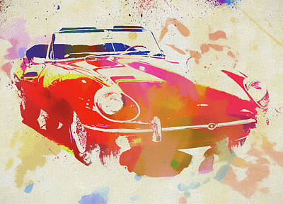 Painting - Jaguar E Type Watercolor by Dan Sproul