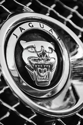 Photograph - Jaguar Emblem -0028bw by Jill Reger