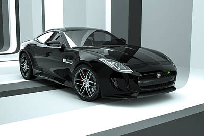 Digital Art - Jaguar F-type - Black Retro by David Marchal